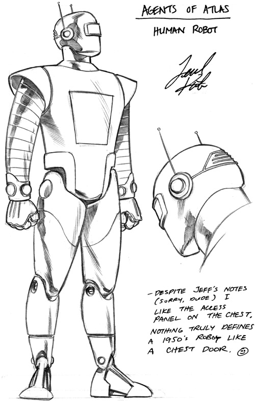 M11 the Human Robot of the Agents of Atlas (Marvel Comics) design sketch