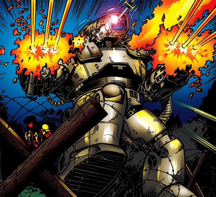 M.A.C. combat robot (DC Comics) vs. Azrael