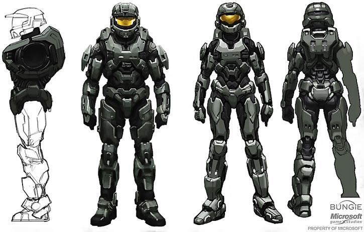 MJOLNIR armor model sheet, male and female