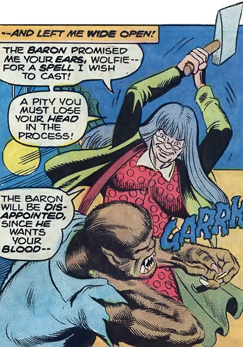 Ma Mayhem (Werewolf by Night enemy) (Marvel Comics) fighting the werewolf