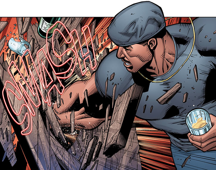 Mace Blitzkrieg punches a bar counter (Dark Horse comics)