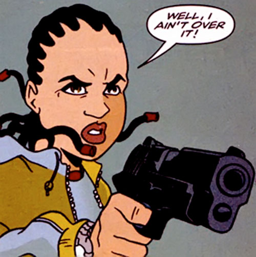 Mace Samuels (Cinnamon character) (DC Comics) pointing a .45