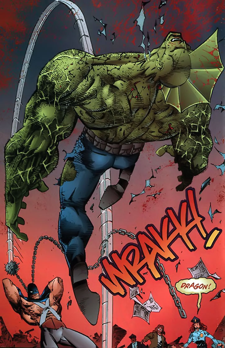 Mace smashing the Savage Dragon with his weapon