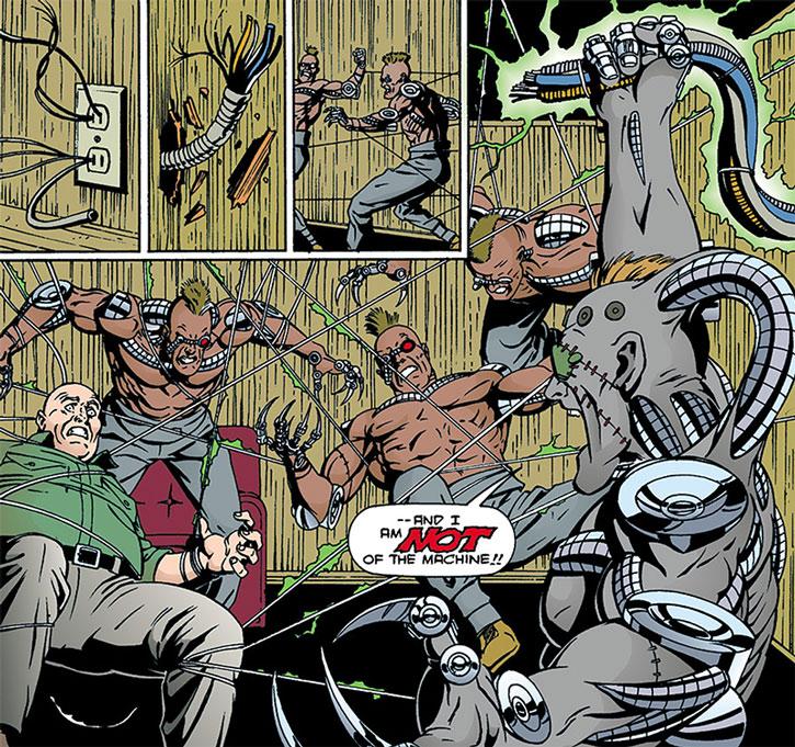 The Machine (Avram Roman) neutralizes enemy cyborgs