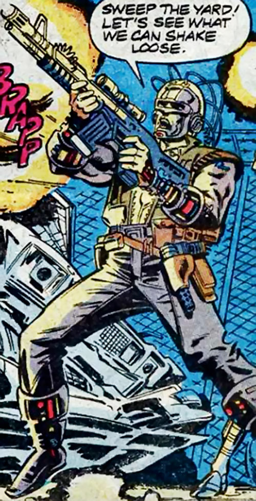 Macon of the Reavers (X-Men enemy) (Marvel Comics) firing an assault rifle