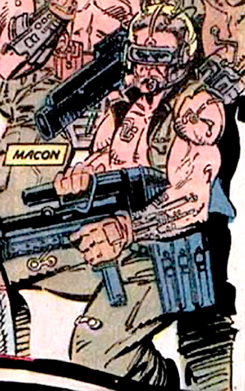 Macon of the Reavers (X-Men enemy) (Marvel Comics) posing with rifle
