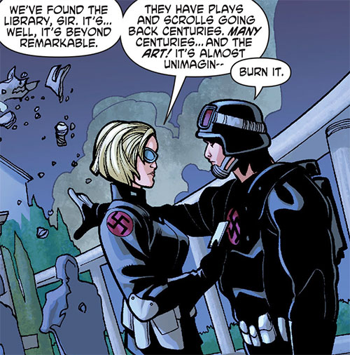Nazi troops on Themyscira (Wonder Woman enemies) (DC Comics) arguing