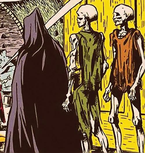 Madame la Morte (Marvel Boy enemy) (Atlas Comics) followed by a pair of zombie servants