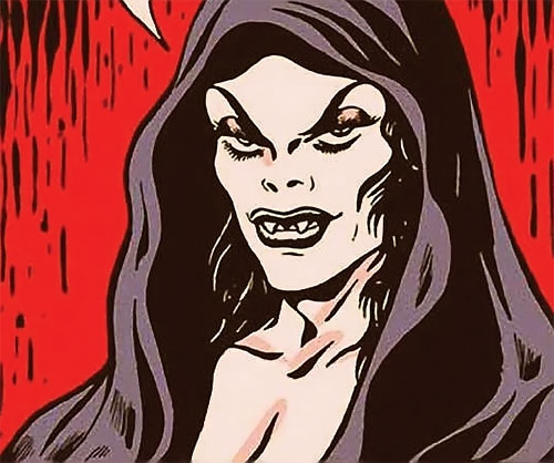 Madame la Morte (Marvel Boy enemy) (Atlas Comics) face closeup
