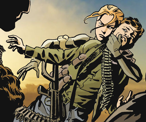 Mademoiselle Marie of Checkmate (Tautin) (DC Comics) ambushing a soldier bare-handed