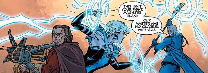 Magister Maevaris Tilani - Dragon Age comics - Tevinter - with Varric