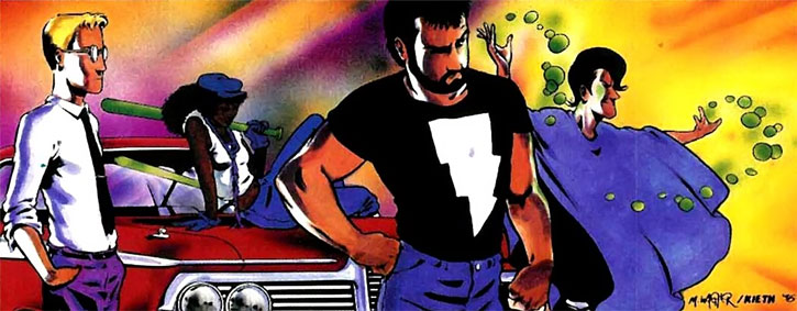 Kevin's team in Mage: the Hero Discovered with Sean Knight, Edsel, Kevin Matchstick and Mirth