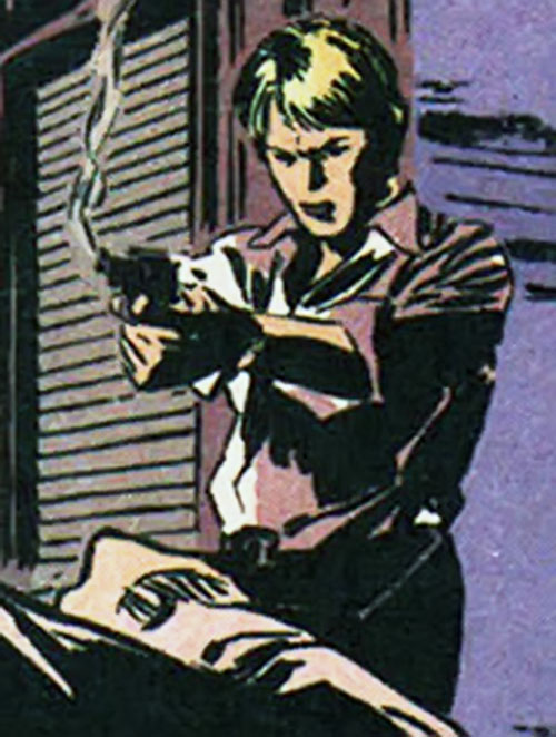 Maggie Sawyer of the Gotham Central MCU (DC Comics) with a smoking gun