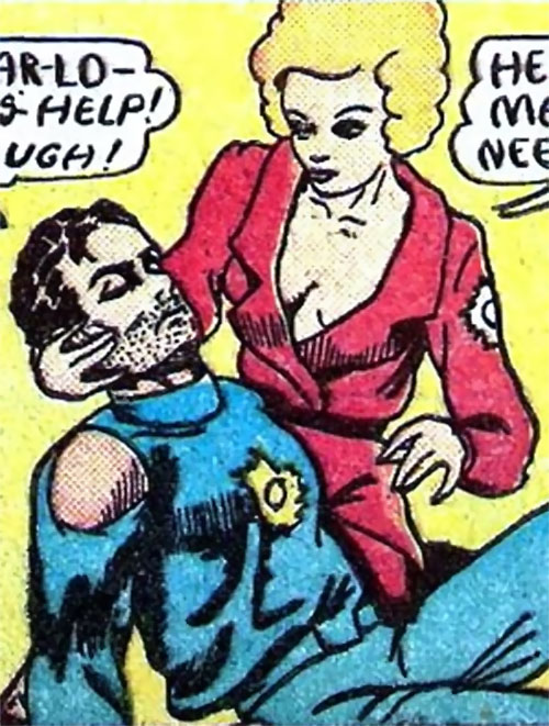 Magician from Mars (Centaur comics) and a wounded soldier