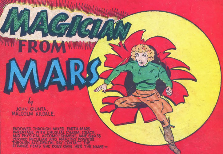 Magician from Mars (Centaur's Amazing-Man Comics) intro splash panel