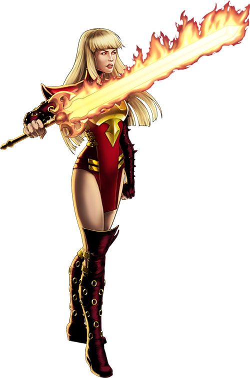 Magik of the New Mutants (Marvel Comics) with a big flaming sword