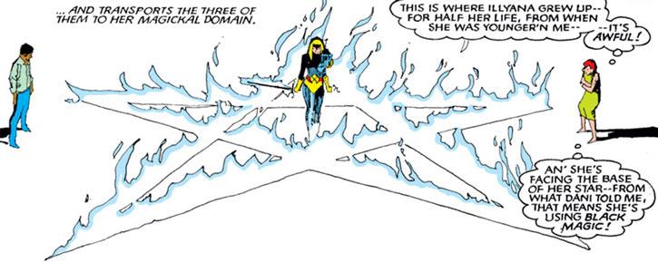 Magik of the New Mutants (Marvel Comics) in a white burning pentagram