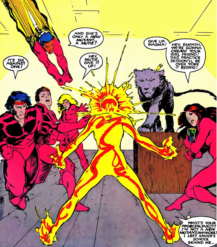 Magma of the New Mutants (Marvel Comics) vs. the Hellions