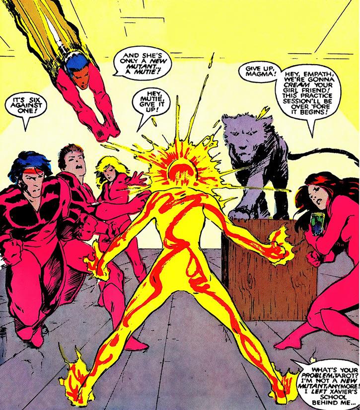 Magma of the New Mutants (Marvel Comics) vs. the Hellions