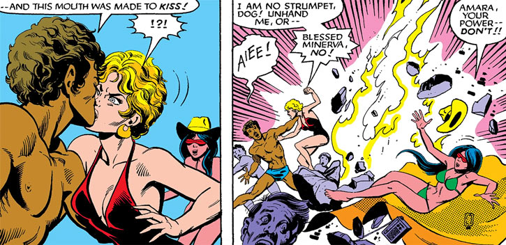 Magma of the New Mutants (Marvel Comics) assaulted on a beach