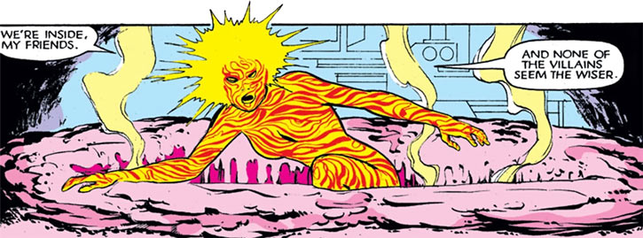 Magma of the New Mutants (Marvel Comics) melting a hole in a steel floor