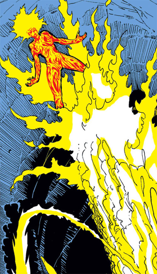 Magma of the New Mutants (Marvel Comics) riding a lava spout