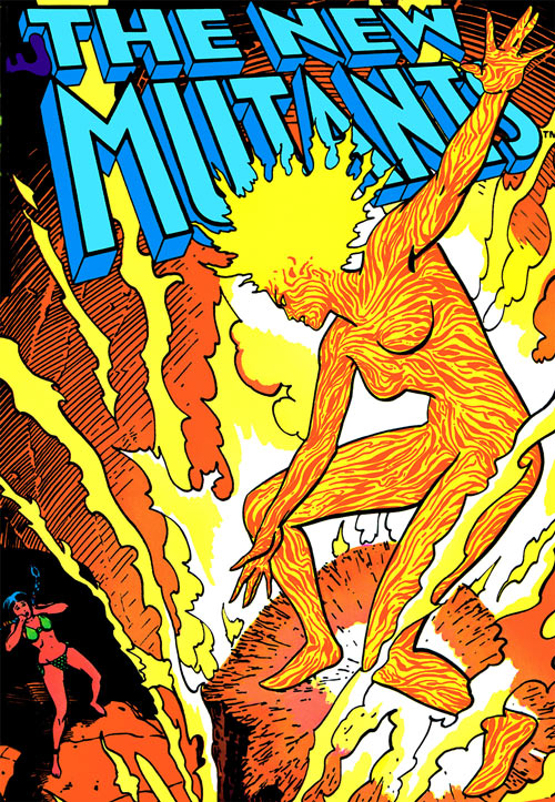 Magma of the New Mutants (Marvel Comics) ablaze in a volcano with Dani Moonstar