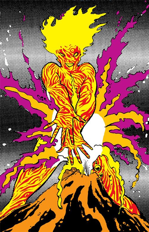 Magma of the New Mutants (Marvel Comics) and a mini-volcano