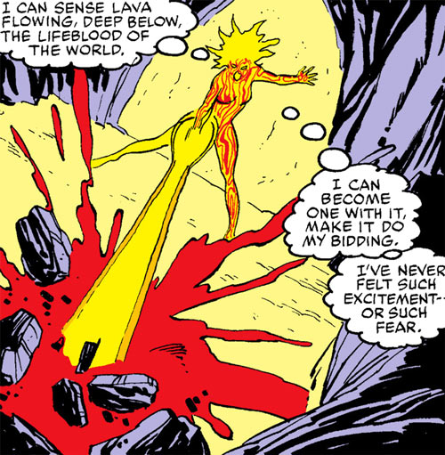 Magma of the New Mutants (Marvel Comics) blasting rock with her power