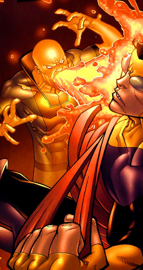 Magmaniac (Invincible enemy) (Image Comics) attacking Invincible
