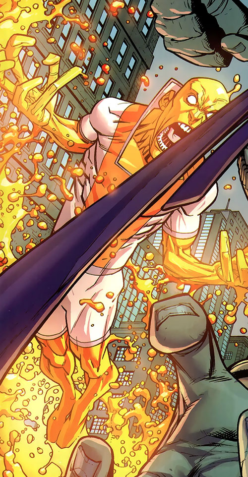 Magmaniac (Invincible enemy) (Image Comics) flying in the street