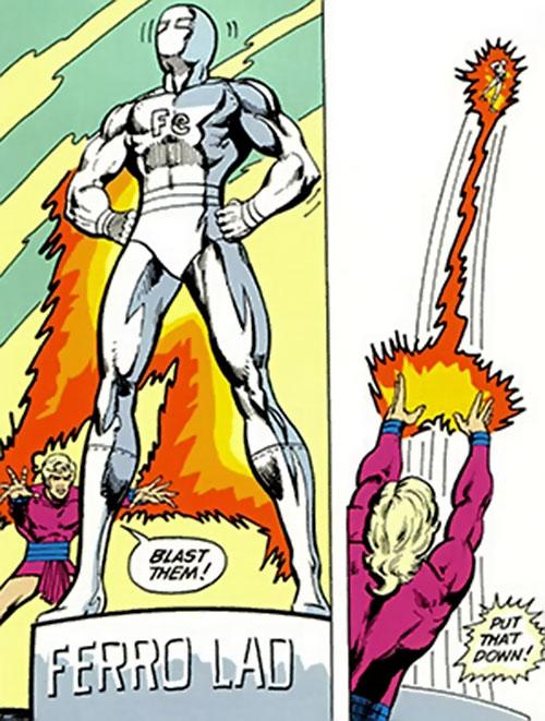 Magno-Lad of the Legion of Super-Villains (DC Comics) lifts a Ferro Lad statue