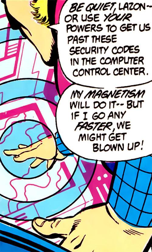 Magno-Lad of the Legion of Super-Villains (DC Comics) hacking a computer