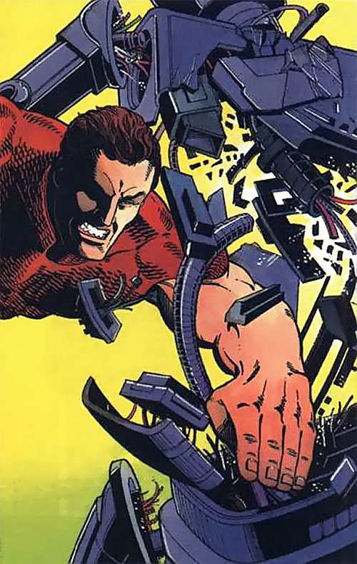 Magnus Robot Fighter (Valiant Comics 1990s) drives his stretched hand through a robot
