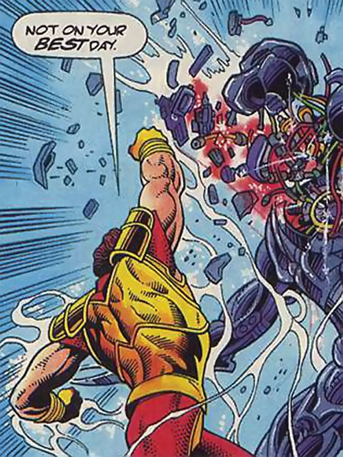 Magnus Robot Fighter (Valiant Comics 1990s) punches the head off a robot