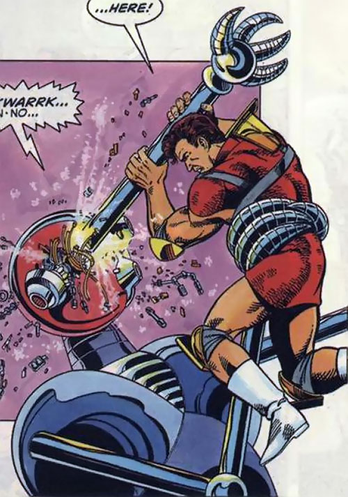 Magnus Robot Fighter (Valiant Comics 1990s) kills a robot using a broken robot arm