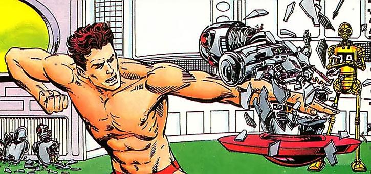 Magnus trains at robot-smashing