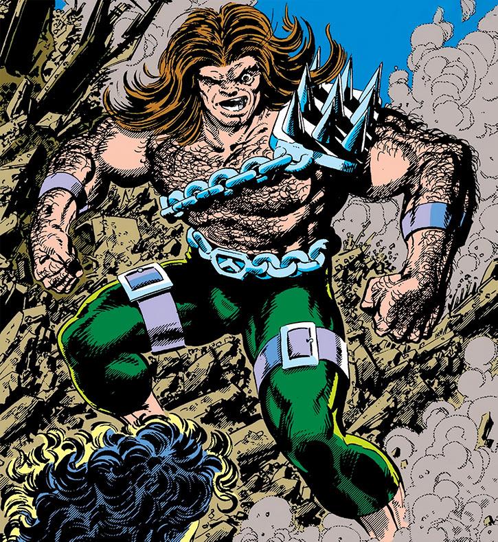 Mahkizmo (Marvel Comics) flexing and threatening she-hulk