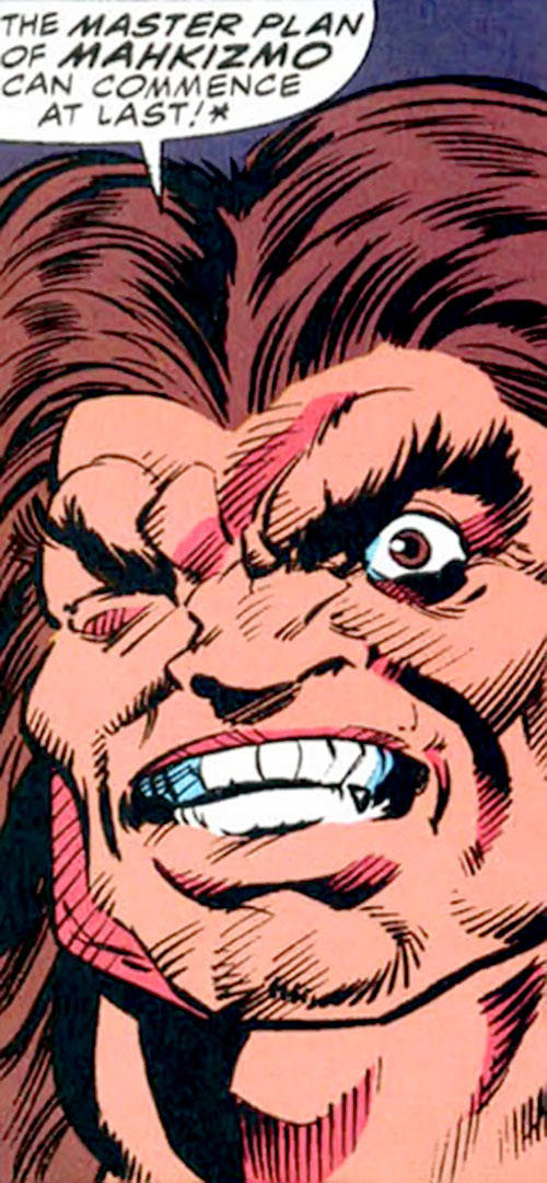 Mahkizmo (Fantastic 4 enemy) (Marvel Comics) face closeup