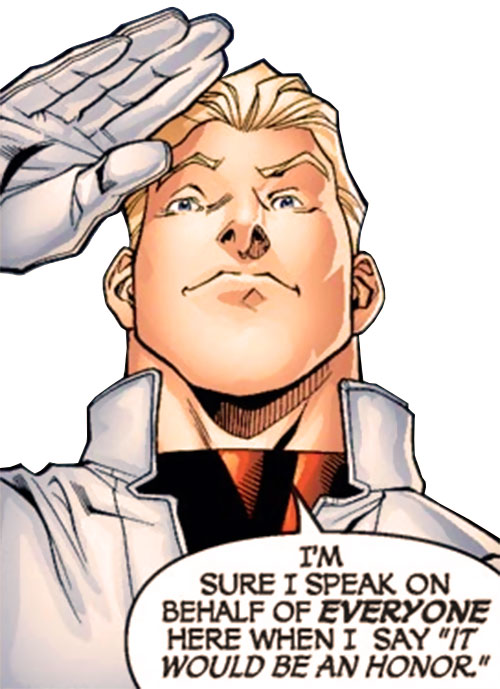 Major Mapleleaf of Alpha Flight (Marvel Comics) saluting