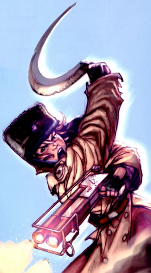 Makita (Red Star comics) with sickle and shotgun