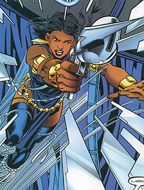 Malice (Black Panther enemy) (Marvel Comics) (Nakia) with a blade pistol