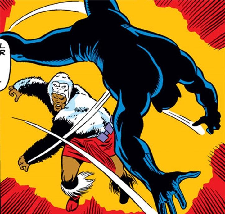 Man-Ape (M'Baku) throws the Black Panther away