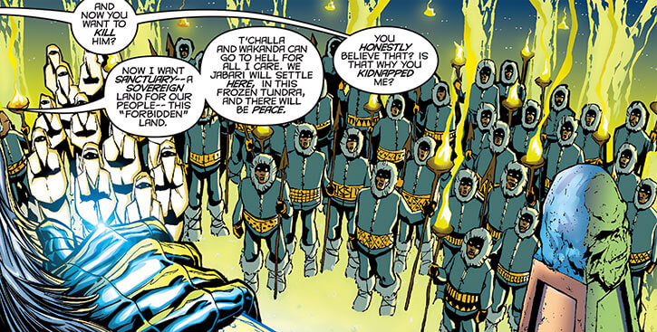 Man-Ape (M'Baku) addresses White Gorilla priestesses and warriors (Marvel Comics)