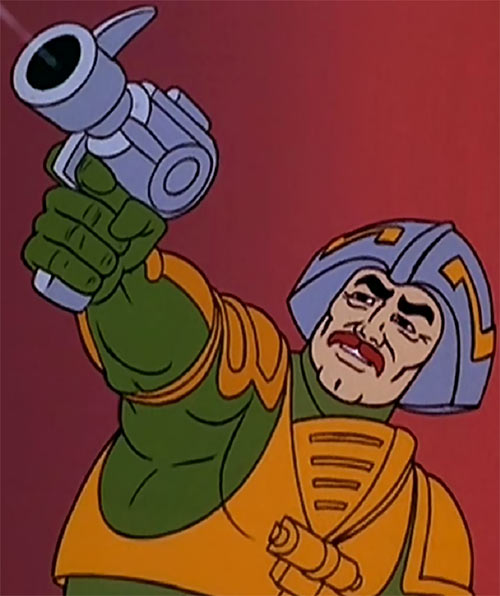 Man-at-Arms (Masters of the Universe 1980s cartoon) shooting a pistol