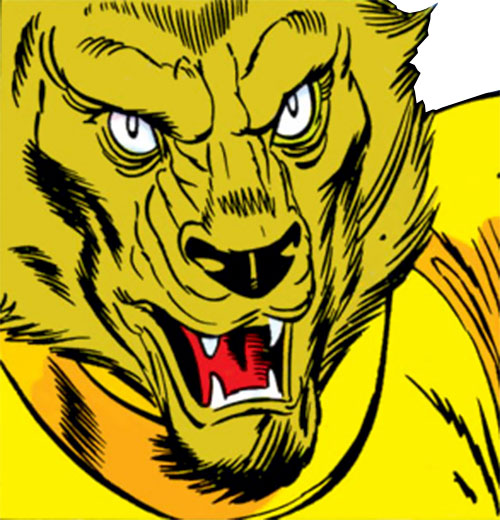 Man-Beast (Adam Warlock / Thor enemy) (Marvel Comics) (Wolf) face closeup and yellow armor