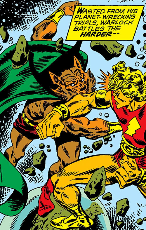 Man-Beast (Thor enemy) (Marvel Comics) (Wolf) fights Adam Warlock