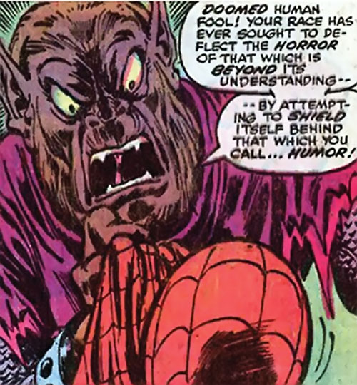 Man-Beast (Adam Warlock / Thor enemy) (Marvel Comics) (Wolf) yelling at Spider-Man