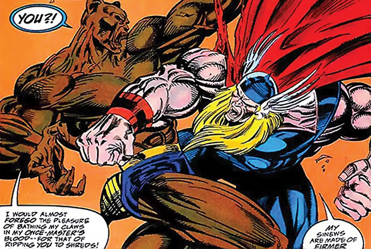 Man-Beast vs. Thor during the 1990s