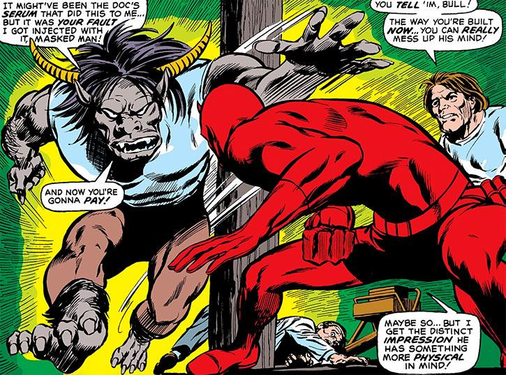 Man-Bull (Marvel Comics) (1970s appearances) charging Daredevil